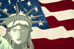American Flag+Statue Liberty
