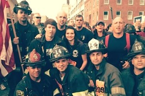Membros do Newark Fire Department que vao participar na corrida